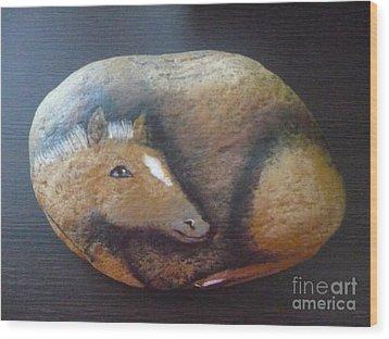 Horse-colt Wood Print by Monika Shepherdson