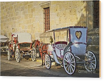 Horse Drawn Carriages In Guadalajara Wood Print by Elena Elisseeva