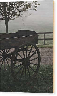 Horse Drawn In The Mist Wood Print by Odd Jeppesen