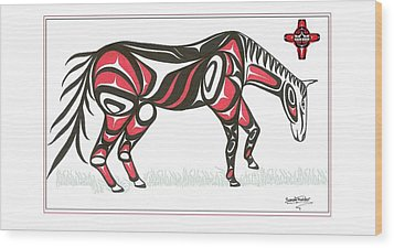 Horse Grass Sun Red Wood Print by Speakthunder Berry