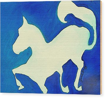 Horse In Blue And White Wood Print by Janel Bragg