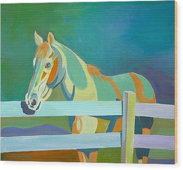 Horse In The Paddock Wood Print by Thierry Keruzore
