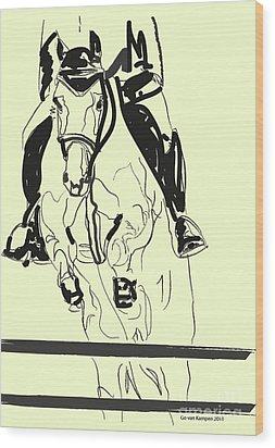 Horse-jumping Wood Print by Go Van Kampen