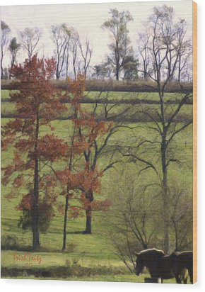 Horse On The Pasture Wood Print by Trish Tritz