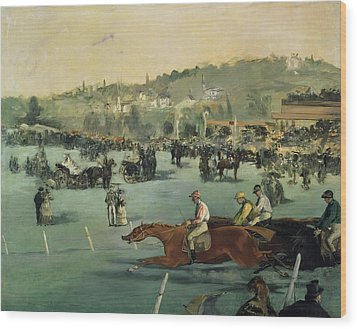 Horse Racing Wood Print by Edouard Manet