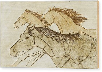 Wood Print featuring the drawing Horse Sketch by Nareeta Martin
