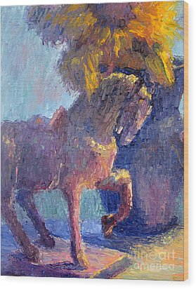 Horse Statue Wood Print by Terry  Chacon