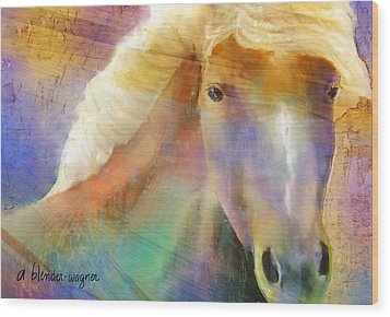 Horse With The Golden Mane Wood Print by Arline Wagner
