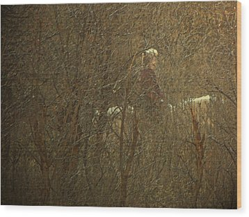Horseback In The Garden Wood Print by Lenore Senior