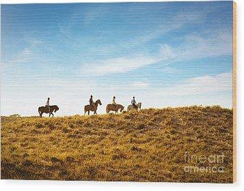 Horseback Riding Wood Print by Carlos Caetano