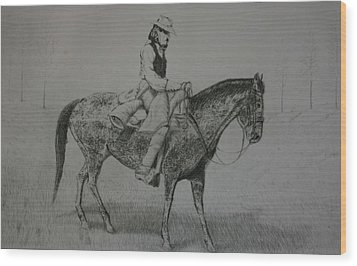 Wood Print featuring the drawing Horseman by Stacy C Bottoms