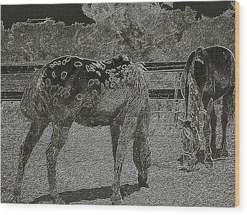 Horses Sketch Wood Print by Manuela Constantin