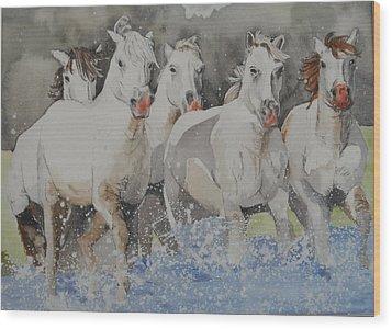 Horses Thru Water Wood Print