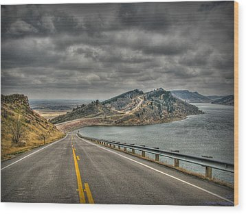 Horsetooth Reservoir Stormy Skies Hdr Wood Print