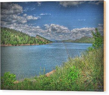 Horsetooth Reservoir Summer Hdr Wood Print by Aaron Burrows