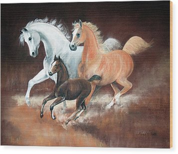 Horsin' Around Wood Print by Rose McIlrath