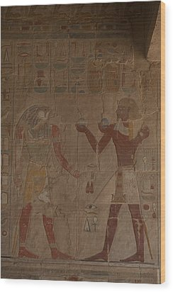 Horus Is Shown Receiving Gifts Wood Print by Taylor S. Kennedy