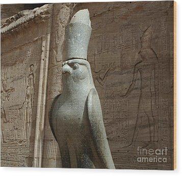 Horus The Falcon At Edfu Wood Print by Bob Christopher