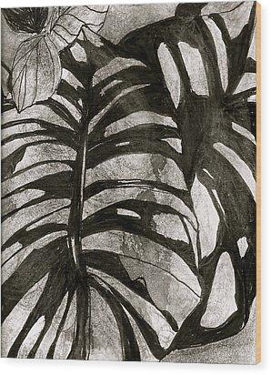 Hostas Version II Wood Print by Claudia Smaletz