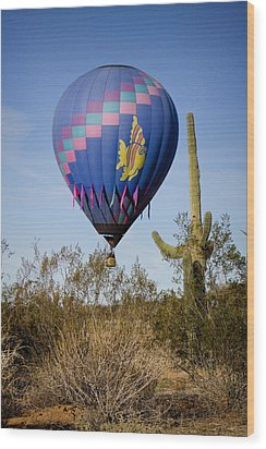 Hot Air Balloon Flight Over The Lush Arizona Desert Wood Print by James BO  Insogna