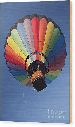 Hot Air Balloon In Flight Wood Print by Bryan Mullennix