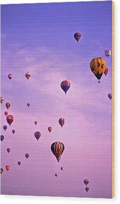 Hot Air Balloon Race - 1 Wood Print by Randy Muir
