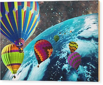Hot Air Balloon Space Race Wood Print by Michael Ambrose