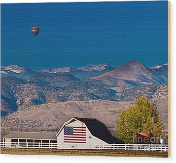 Hot Air Balloon With Usa Flag Barn God Bless The Usa Wood Print by James BO  Insogna