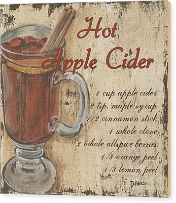 Hot Apple Cider Wood Print by Debbie DeWitt