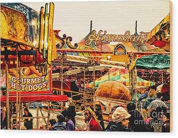 Hot Dogs Wood Print