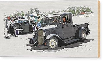 Hot Rod Show Trucks Wood Print by Steve McKinzie