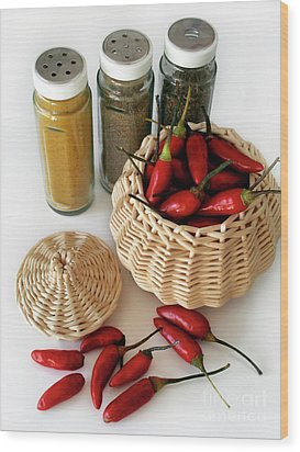 Hot Spice Wood Print by Carlos Caetano