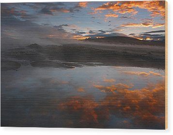 Hot Springs In The Bolivian Altiplano. Wood Print by Eric Bauer