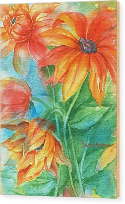 Hot Summer Flowers Wood Print