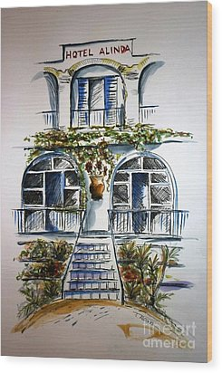 Wood Print featuring the painting Hotel Alinda - Leros by Therese Alcorn
