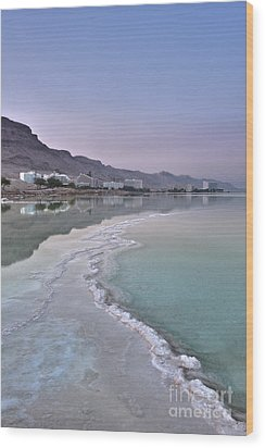 Hotel On The Shore Of The Dead Sea Wood Print by Noam Armonn