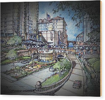 Hotel Plaza Wood Print by Andrew Drozdowicz