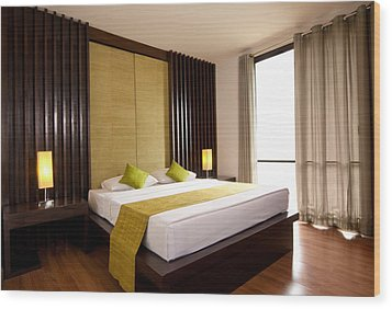 Hotel-room Wood Print by Atiketta Sangasaeng