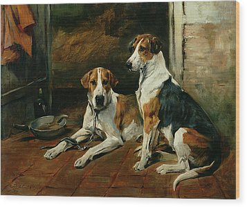 Hounds In A Stable Interior Wood Print by John Emms