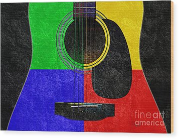 Hour Glass Guitar 4 Colors 1 Wood Print by Andee Design