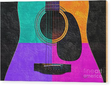 Hour Glass Guitar 4 Colors 2 Wood Print by Andee Design
