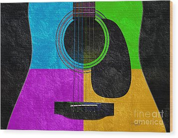 Hour Glass Guitar 4 Colors 3 Wood Print by Andee Design