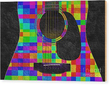 Hour Glass Guitar Random Rainbow Squares Wood Print by Andee Design