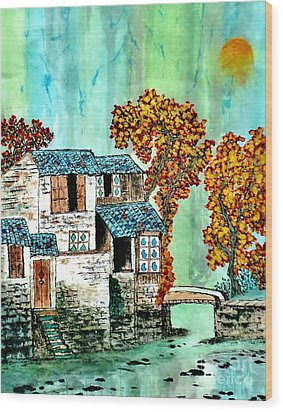 House By The River Wood Print