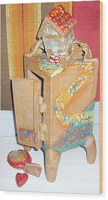 House Fell On My Wicked Witch Treasure Chest Wood Print by Chere Force