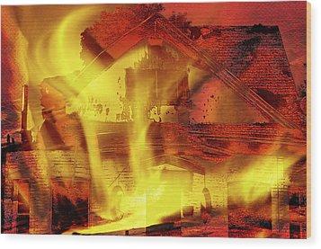 House Fire Illustration 2 Wood Print by Steve Ohlsen