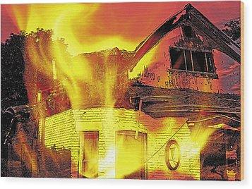 House Fire Illustration Wood Print by Steve Ohlsen