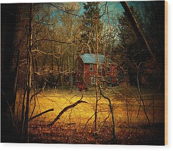 House In The Forest Wood Print by Joyce Kimble Smith
