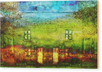 House In The Forest Wood Print