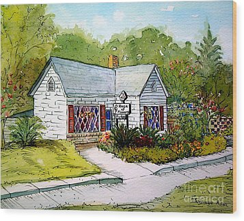 Wood Print featuring the painting House Of Flowers by Gretchen Allen